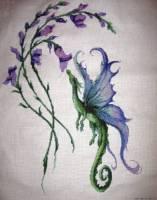 Набор для вышивания Цветочный дракончик, Kustom Krafts 82027 купить в санкт петербурге Шале, Aida 14, Счетный крест.